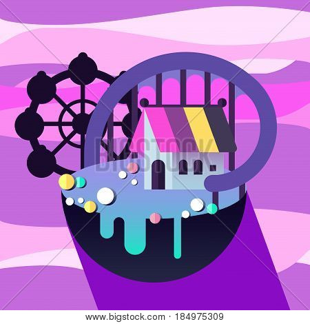 Carnival in amusement park. Flat roller coaster, gingerbread house, carousel, tent. Vector flat icon. Fairy tale