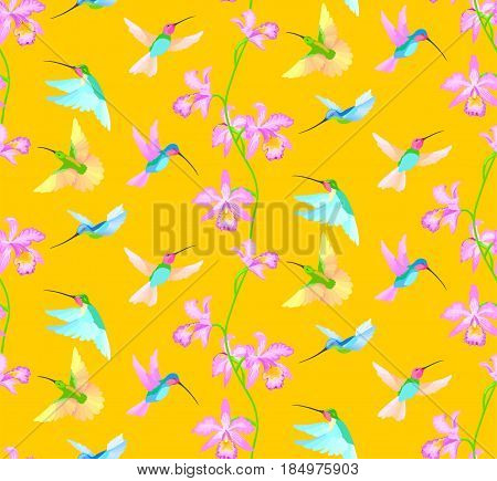 Hummingbird seamless pattern with orchid flowers on yellow background.