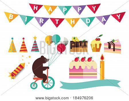 Set of flat catoon birthday party elements. Decoration like ribbon, hat, cake, confetti, flag, candle, bear with balloons, party poppers