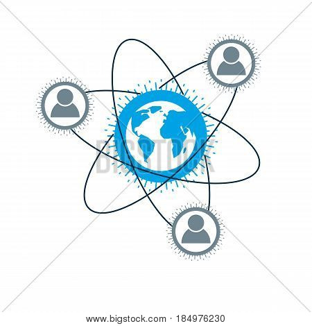 Mankind And Person Conceptual Logo, Unique Vector Symbol Created With Different Icons. System And So