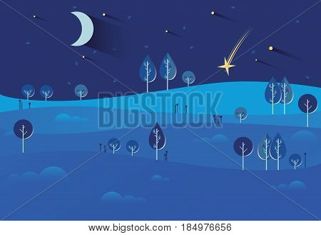 Night landscape with stars and moon, hot air balloons, tractor, nature, hills, field. Season. Autumn or summer. Harvest time, harvesting crops