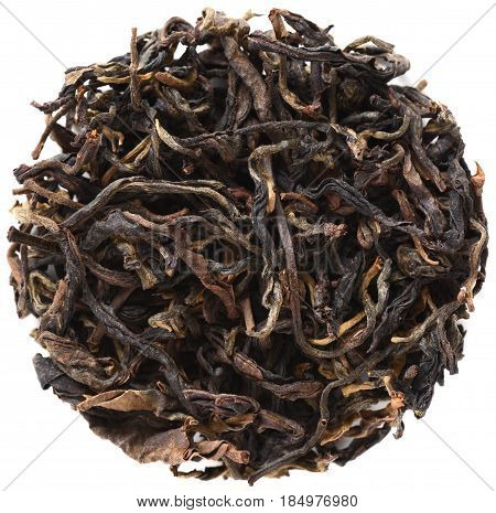 Yi Wu Mountain Wild Arbor Assamica black tea isolated
