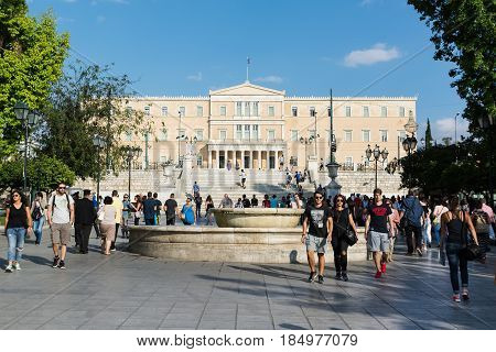 ATHENS, GREECE - SEPTEMBER 23, 2016: Syntagma Square and the greek Parliament building in Athens, Greece.
