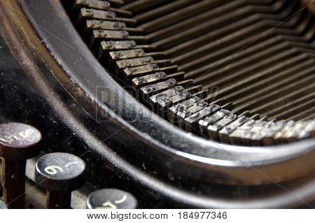 Old metal fonts and stylish keys of retro typewriter