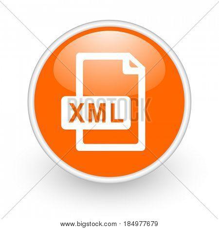 Xml file modern design glossy orange web icon on white background.