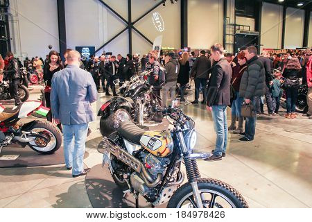St. Petersburg Russia - 15 April, A crowd of visitors to the motor show,15 April, 2017. International Motor Show IMIS-2017 in Expoforurum. Visitors and participants of the annual moto-salon in St. Petersburg.