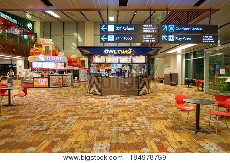 SINGAPORE - CIRCA AUGUST, 2016: Owl Transit at Singapore Changi Airport. Changi Airport is one of the largest transportation hubs in Southeast Asia.