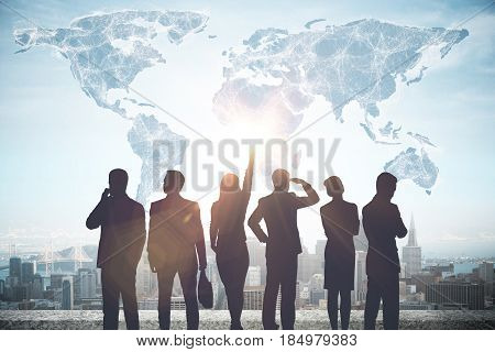 Back view of businesspeople looking at touching abstract digital map with connections on rooftop with city view. Connectivity concept. 3D Rendering