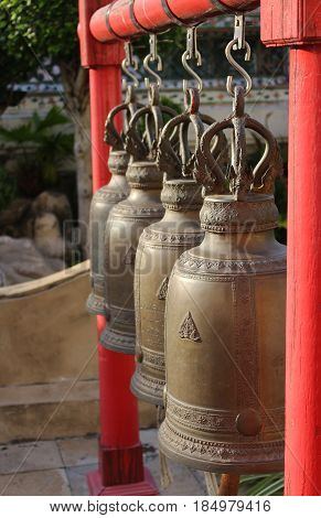 Bell at Wat Arun in Thailand, Bells in the temple at Bangkok.