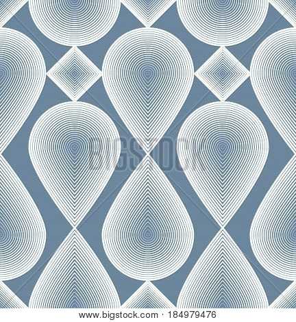 Continuous vector pattern with graphic lines decorative abstract background with geometric figures. Ornamental seamless backdrop can be used for design and textile.
