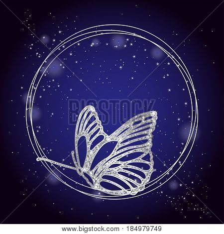 Shining butterfly on a dark background. Abstract vector background with sparkling silver dust. Elegant vector frame with butterfly.