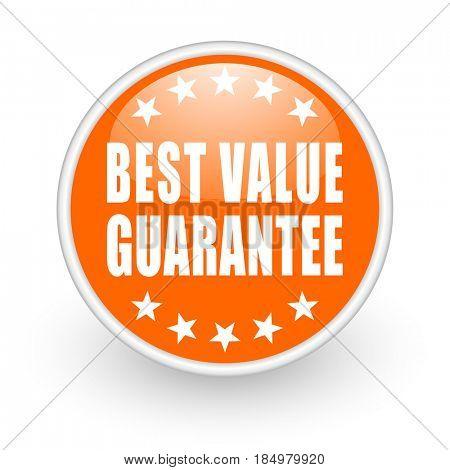 Best value guarantee modern design glossy orange web icon on white background.
