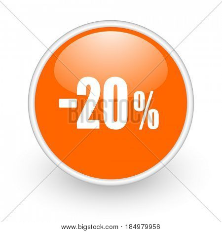 20 percent sale retail modern design glossy orange web icon on white background.