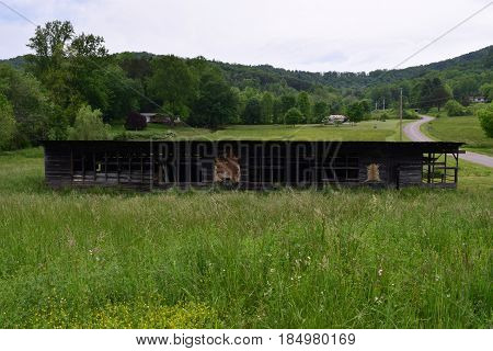Long barn with animal hides on side in a country setting