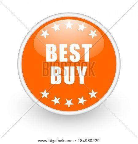 Best buy modern design glossy orange web icon on white background.