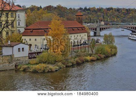 PRAGUE CZECH REPUBLIC - NOVEMBER 4 2012: Kafka museum on the embankment of Prague
