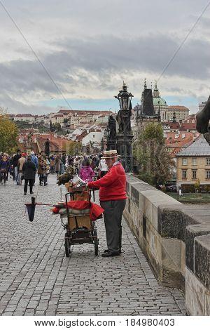PRAGUE CZECH REPUBLIC - NOVEMBER 5 2012: A man plays on a hurdy-gurdy at the Charles Bridge in Prague