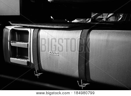 FRANKFURT GERMANY - MAR 3 2017: Detail of a DAF truck petrol diesel gas tank. Truckmakers Get Record $3.23 Billion EU Fine for Cartel for fixing prices of medium- and heavy-duty vehicles over 14 years.