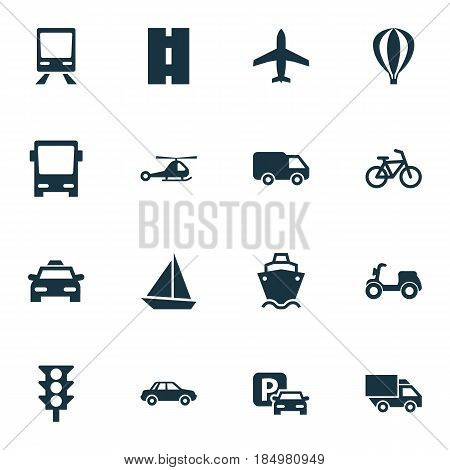 Shipment Icons Set. Collection Of Road Sign, Way, Railway And Other Elements. Also Includes Symbols Such As Autobus, Yacht, Parking.