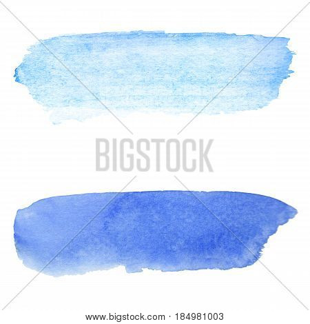 Blue watercolor background. Brush stroke on paper texture. Watercolour wash on white paper. Bright and pale paint stroke for backdrop. Real watercolor texture. Handmade watercolor sky by paintbrush