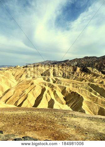 View of the erosional landscape in Zabriskie Point - Death Valley California