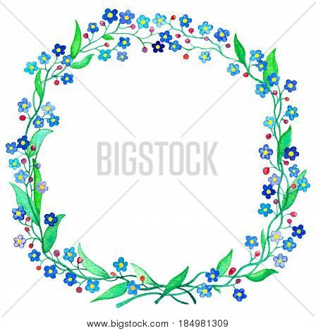 Blue Forget-Me-Not wreath watercolor illustration. Spring flower Forgetmenot on white background. Handdrawn floral wreath. Spring wedding design clipart. Blue flower arrangement. Forget-me-not frame