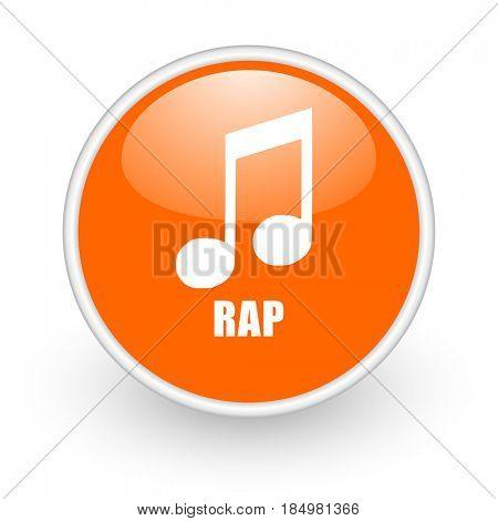 Rap music modern design glossy orange web icon on white background.
