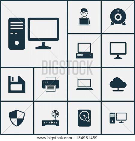 Laptop Icons Set. Collection Of Defense, Printing Machine, Personal Computer And Other Elements. Also Includes Symbols Such As Floppy, Online, Computer.