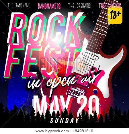 Rock fest in open air! Rock festival flyer, banner or poster with electric guitar in modern style, night sky with stars on background