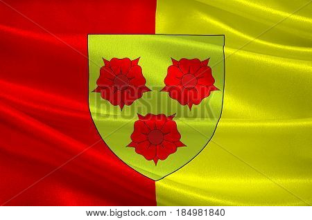Flag of Grenoble is the capital of the department of Isere in southeastern France. 3D illustration