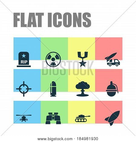 Warfare Icons Set. Collection Of Dangerous, Order, Chopper And Other Elements. Also Includes Symbols Such As Bomb, Chopper, Target.