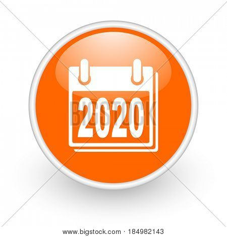 New year 2020 modern design glossy orange web icon on white background.