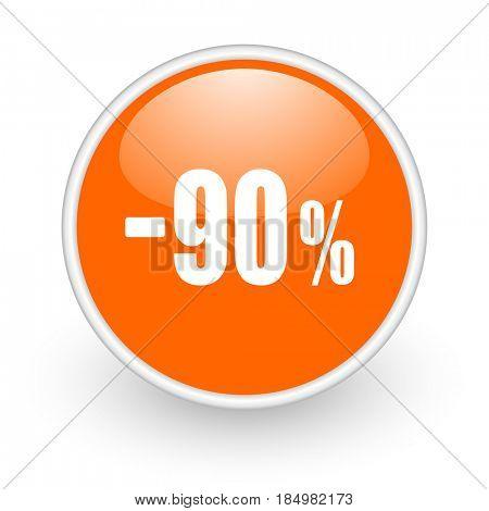90 percent sale retail modern design glossy orange web icon on white background.