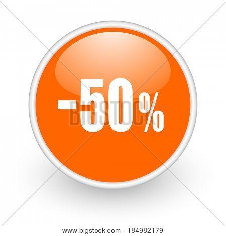 50 percent sale retail modern design glossy orange web icon on white background.