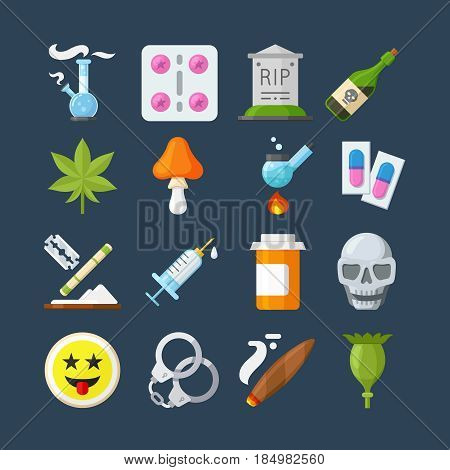 Illegal drugs flat icons set. Methamphetamine abuse, marijuana narcotic, tablet pharmacy, alcohol addiction, smoke pipe.