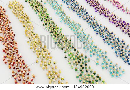 Crowd of small symbolic figures color stripes 3d illustration horizontal over white