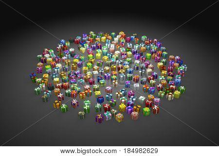 Gift boxes large group spotlight 3d illustration dark horizontal