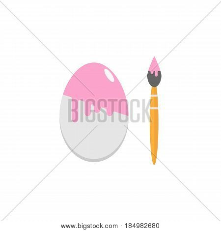Easter eggs with brush flat icon, religion holiday elements, painting egg, a colorful solid pattern on a white background, eps 10.
