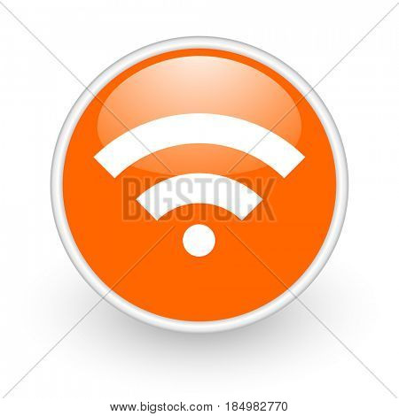 Wireless modern design glossy orange web icon on white background.