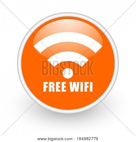Free wifi modern design glossy orange web icon on white background.