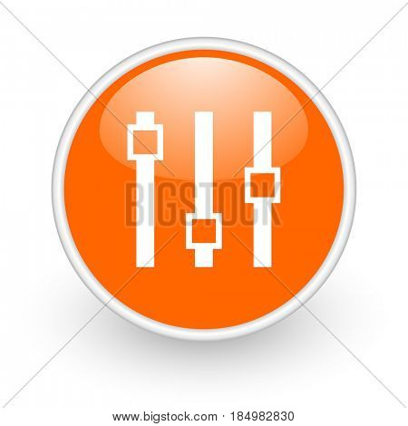 Slider modern design glossy orange web icon on white background.