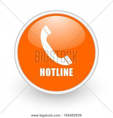 Hotline modern design glossy orange web icon on white background.