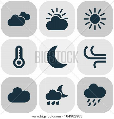 Meteorology Icons Set. Collection Of Douche, Moon, Cloudy And Other Elements. Also Includes Symbols Such As Rainy, Hate, Sun.