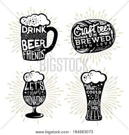 Typography design of beers. Texts in different beer themed objects: mug, cask (barrel), glass.