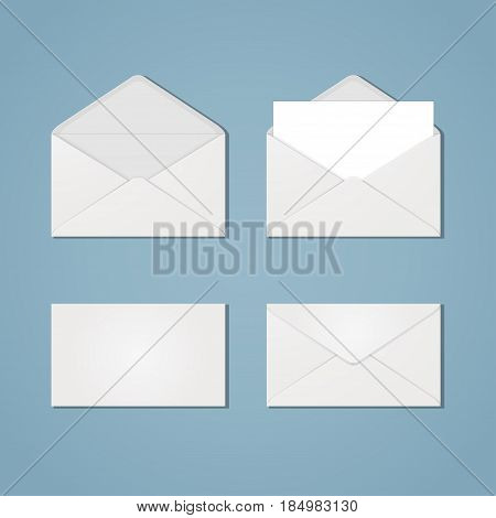 A set of white open and closed envelopes from the front and back with paper inside and without. Mail letter correspondence quick instant message. Blank invelopes.