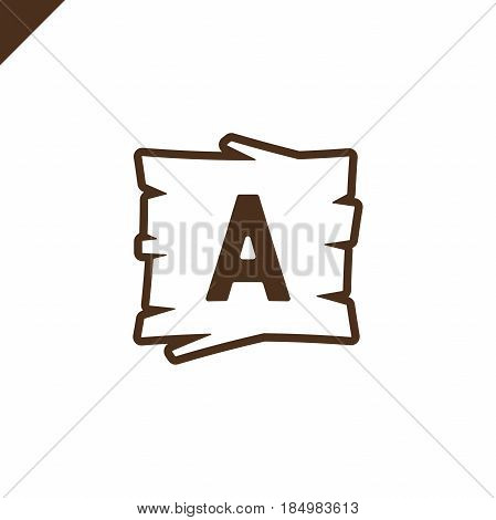 Wooden Alphabet Or Font Blocks With Letter A In Wood Texture Area With Outline.