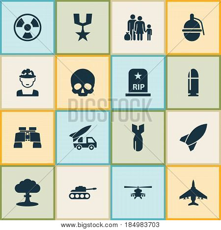 Combat Icons Set. Collection Of Aircraft, Bombshell, Military And Other Elements. Also Includes Symbols Such As Bomber, Binoculars, Refugee.