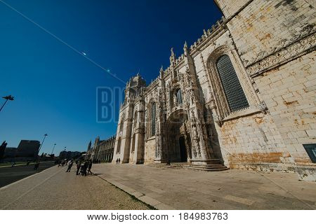 LISBON,PORTUGAL-FEBRUARY 2017: Entrance to the church and cloister of Mosteiro dos Jerónimos,Belém,Lisbon.The Jeronimos Monastery is National Pantheon and one of the important attractions of Portugal