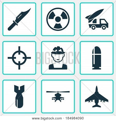 Battle Icons Set. Collection Of Ordnance, Target, Cutter And Other Elements. Also Includes Symbols Such As Aircraft, Bomb, Bullet.