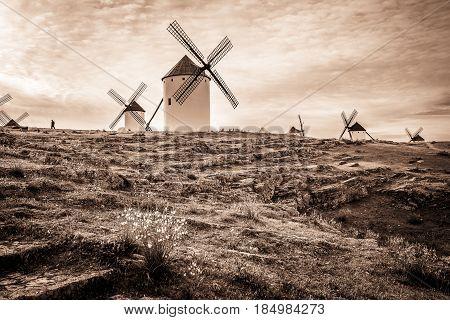 monochrome of windmills in Campo de Criptana town, province of Ciudad Real, Castilla-La Mancha, Spain